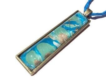Bar Necklace - Vertical Bar Pendant - Hippie Necklace - Ocean Pendant - Painted Necklace - Blue Pendant - Hippy Gift - Ebru Art - Ocean Gift