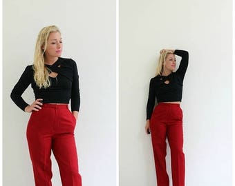 "ON SALE 1970s Crimson Wool Trousers /// Size Extra Small /// 25"" Waist"