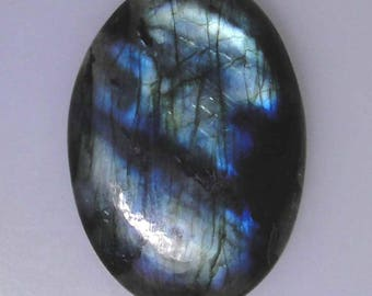 Labradorite oval cab, blue and green gold color flash, 73 carats                             043-10-260