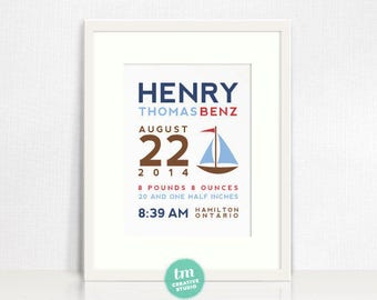 Sailboat Custom Birth Announcement // Nursery Print // Blue, Red, Brown // Modern Birth Stat Poster // 8x10 Print // Baby Boy