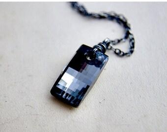 Crystal Necklace, Crystal Rectangle, Geometric Jewelry, Titanium Gray, Swarovski Crystal, Swarovski Pendant, Sterling Silver, PoleStar