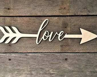Love Arrow Word, Wall Decor, Wall Hanging, Inspirational, Teens Room, Childs Room, Classroom