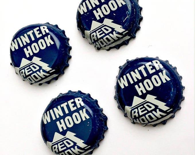 Beer Magnets, Bottle Cap Magnets, Red Hook Winter Hook Bottle Cap Magnets, Four Beer Bottle Magnets, Blue Magnets, Microbrew Magnets