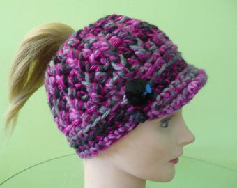 Pink Black and Gray Sparkle Messy Bun Ponytail Hat with Bill Ready to Ship