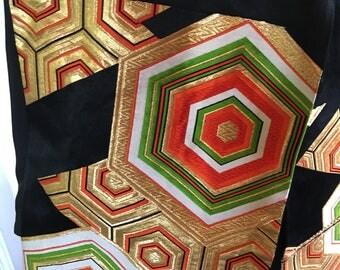 Vintage Kimono Obi / Sash / Black And Gold
