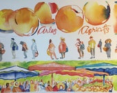 """Arles, Provence apricot watercolor travel print, size;A4 8.24"""" X 11.75"""""""