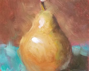 "Small Original Oil Painting,Yellow Pear, Turquoise, 6 x 6"", Unframed, Wall Art, Kitchen Art"