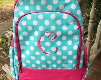 Pink and Aqua Polka Dot Backpack-Dots Book bag-includes Monogram-School Bag-Diaper Bag
