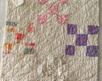 1930s quilt piece, floral faded feedsack prints, approx 14 x 13-1/2, hand quilted, hand pieced, A