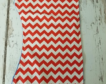 50% OFF Red and white Chevron with a blue minky backing