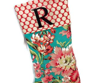 MONOGRAM CHRISTMAS STOCKING - Pink Amy Butler floral and polka dots - Personalized Christmas Stocking Modern Christmas Stocking .