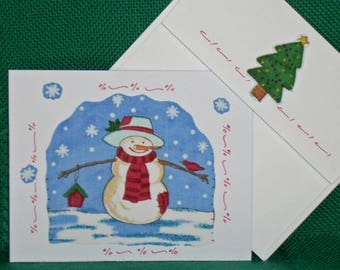 NOTECARDS--Smiling Snowmen in Fabric Applique