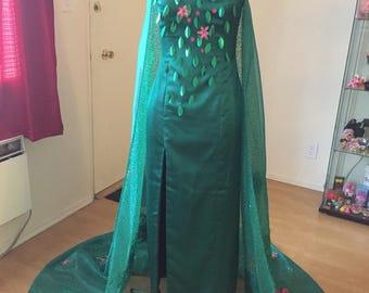 Spring Elsa cosplay costume disney PREOWNED Frozen Fever