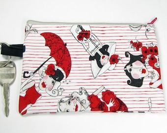 Ladies in Red, wristlet wallet, smartphone wristlet, wristlet for iphone, iphone wristlet case, cellphone wallet, wristlet keychain