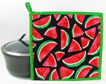 Watermelon, Quilted Potholder, Cooking Potholder, Handmade Potholder,  Kitchen Potholder, Fabric Potholder