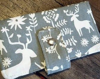 Womens Wallet, Fabric Wallet, Deer Wallet, Clutch Wallet