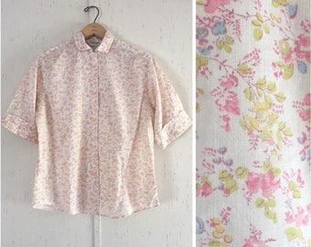 1960's Floral Cotton Button Down Shirt