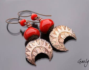 Inhaa - ceramic and copper dangle earrings - Bohemian Style - etching the - bo gaelys