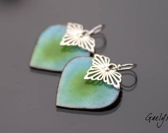 Miley Blue / Lime - earrings, silver Sterling and enameled copper - Bohemian Chic - bo gaelys