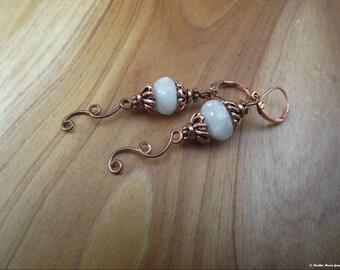 Ancient Days Copper & Aquamarine Earrings