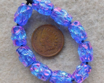 10 Sky Blue Sunset Dichroic Mini ripple Lampwork Beads  by Dee Howl Beads