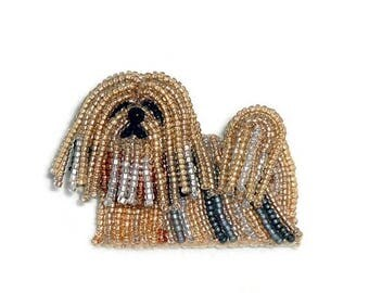 LHASA APSO beaded keepsake dog pin pendant art jewelry -Gift for Her (Made to Order)