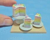 Dollhouse Miniature Pastel Rainbow Cake (RESERVED FOR MINIINC)