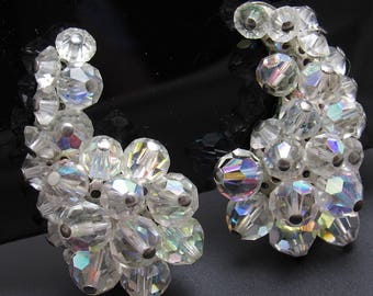 Crystal Climber Earrings Fifties Vintage Jewelry E8534