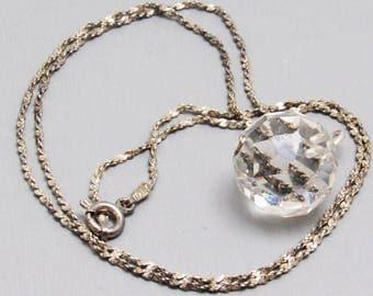 Sterling Crystal Bead Necklace  Vintage Jewelry N8617