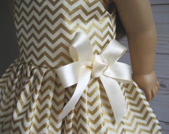 Clothes Made for AMERICAN GIRL DOLLS, Gold and Ivory Chevron Print Dress fits American Girl Dolls