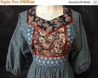 ON SALE Vintage 1970's patchwork dress calico Young Edwardian by Arpeja boho hippie