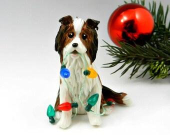 Sheltie Shetland Sheepdog Collie Christmas Ornament Sable Porcelain Clay