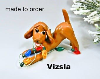 Vizsla Dog Made to Order Christmas Ornament Figurine in Porcelain