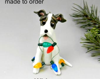 Whippet Made to Order Christmas Ornament Figurine in Porcelain