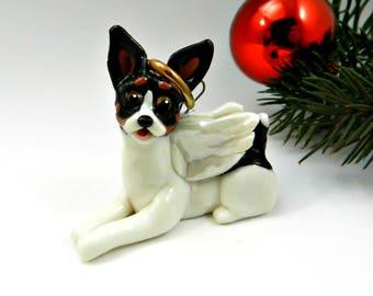 Angel Toy Fox Terrier Rat Terrier Christmas Ornament Figurine Porcelain