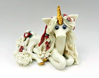 Unicorn Figurine Red Roses OOAK Porcelain Clay