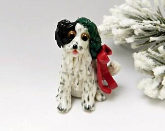 Border Collie Christmas Ornament Figurine Wreath Porcelain