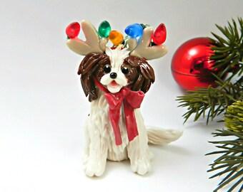 Cavalier King Charles Spaniel Christmas Ornament Reindeer Antlers Porcelain