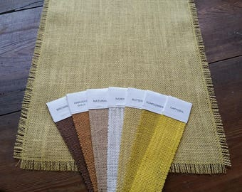 14 Inch Premium Burlap Runner with half inch fringe - Butter Yellow - Sunflower - Daffodil - Harvest Gold - Brown - Ivory - Natural