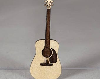 Guitar Pin, laser cut and engraved, made of layered maple wood  -  Fast Free Shipping with gift wrap