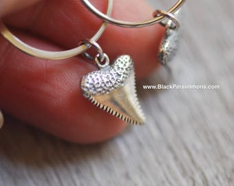 Shark Tooth Hoop Earrings - 3D Solid 925 Sterling Silver Charms -  Insurance Included