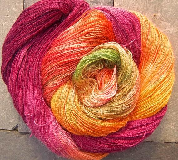 Yarn Lace Baby Alpaca Mulberry Silk Elvincraft's Hand Painted Autumn Blackthorn