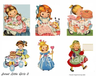 Sweet Little Girls 5  Digital Collage from Vintage Greeting Cards  - Instant Download - Cut Outs