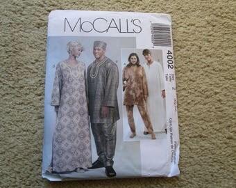 McCall's unct pattern 4002 Tunics, Caftans, Pants, Hat, Head Wrap, Pull on Pants, Size XL-XXL, Unisex
