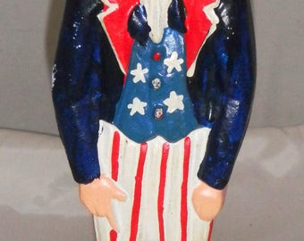 UNCLE SAM Door Stop   Vintage Cast Iron AMERICANA