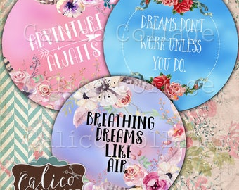2.5 Inch Circles, Pocket Mirror Images, Inspirational, Quotes, Digital, Collage Sheet, Printable Circles, Digital Images, Calico Collage