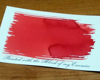 Blood of My Enemies Hand Dyed Letterpress Postcard