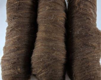 Soft Shetland Wool Brown Farm Raised Handprocessed Batts 3 oz