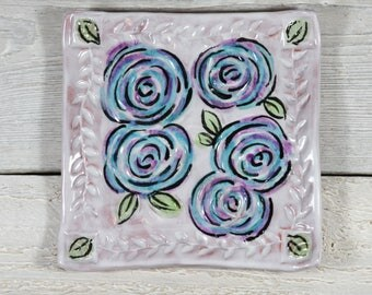 Hand Painted  Roses Tray - Blue and Purple