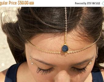 SUMMER SALE Drusy Druzy quartz gold vermeil head chain. headpiece. headdress